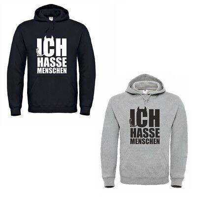 4you Design Pullover Ich Hasse Menschen grau & schwarz