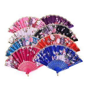 Dance-Wedding-Party-Lace-Silk-Folding-Hand-Held-Flower-Pattern-Fan-M-amp-O