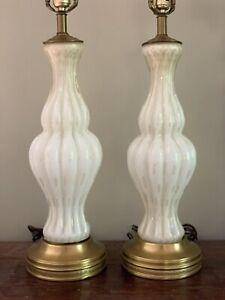 Vintage-Pair-Murano-Barbini-Bullicante-White-Gold-Table-Glass-Lamps-Aventurine