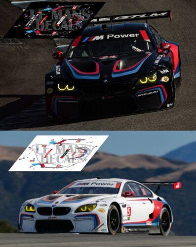 Calcas BMW M6 GT LM Laguna Seca 2017 24 25 1:32 1:24 1:43 1:18 64 87 slot decals