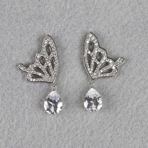 Silver Dangle Butterfly Earrings Large Butterfly Statement Earrings Made in US
