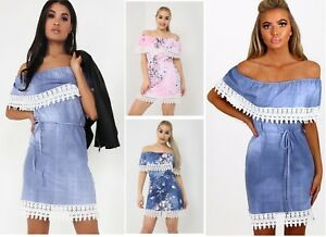 1748a66e9f205 Womens Blue Lace Crochet Trim Off Shoulder Bardot Denim Effect Tunic ...