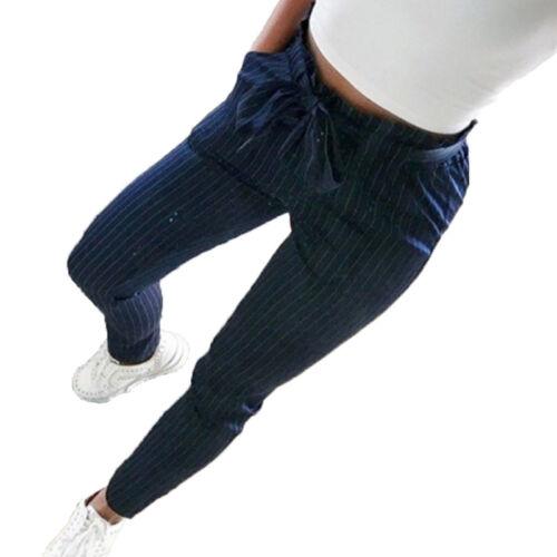 Women Summer Straight Leg Long Pants High Waist Paper Bag Trousers Casual Skinny
