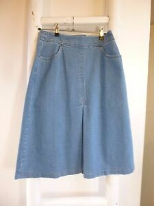 BNWT-Pure-Collection-blue-denim-A-line-pleat-fronted-70s-style-skirt-size-8