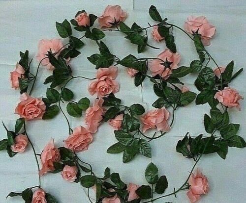 Long Corail Pêche Rose Fleur Guirlande Mariage//Artificiel Décoration environ 2.74 m 9 ft massif