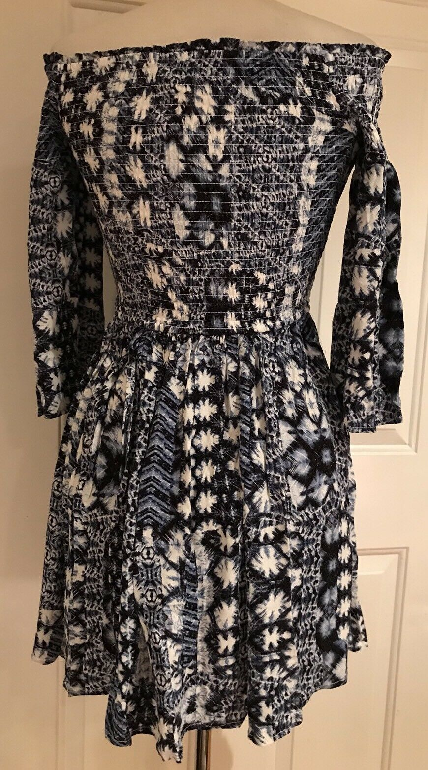 b977b5a3a5 ... American Rag Cie Off the the the Shoulders Fit   Flare Mini Dress bluee  White M ...