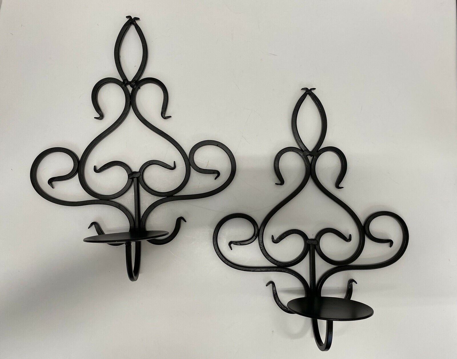 Set Of 2 Black Metal Wrought Iron Scroll Wall Sconces Candle Holders Home Decor For Sale Online