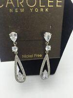 $50 Carolee Silver Tone Cz Oval Long Drop Earrings 419