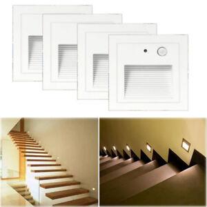 4-x-3W-LED-Wandeinbauleuchte-Treppenlicht-Stufenlicht-mit-Bewegungsmelder-230V
