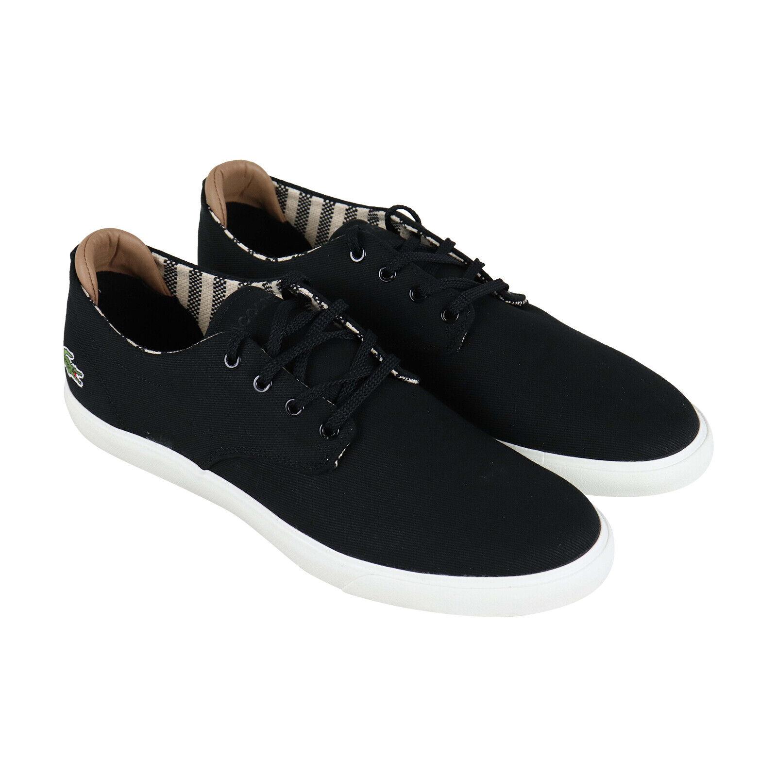 Lacoste Esparre 219 1 CMA para hombre Negro Lona Bajo Top Zapatos Deportivos Zapatos Con Cordones