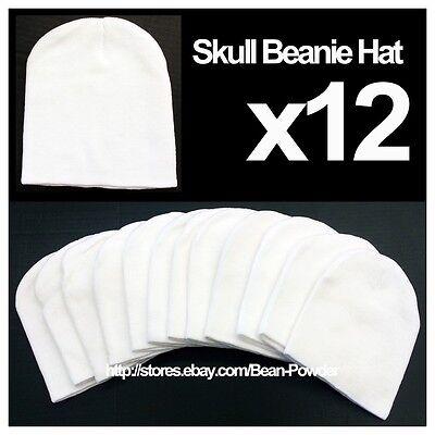 **WHITE** WHOLESALE LOT OF 12 PLAIN BLANK SOLID SKULL SHORT BEANIE HATS