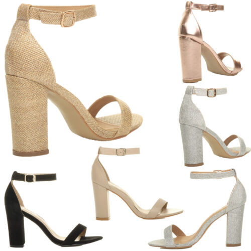 WOMENS BLOCK HEEL ANKLE STRAPPY SANDALS LADIES PEEP TOE GLITTER PARTY SHOES UK 3