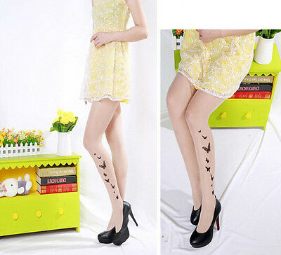 Fashion Lady Women Sexy Tattoo Sheer Pantyhose Pattern Printed Stockings Tights