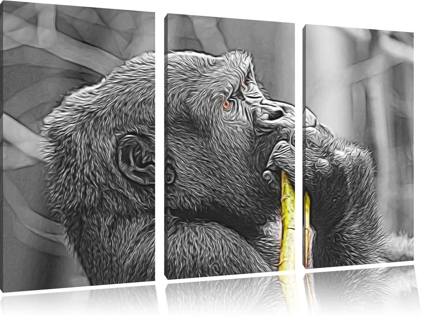 Fiero Gorilla Mangia Deluxe 3-Teiler 3-Teiler Quadro su Tel Decorazione Parete