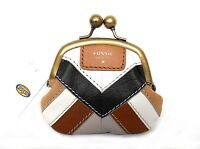 $50 Fossil Amanda Patchwork Coin Purse, Leather, Brown Multi