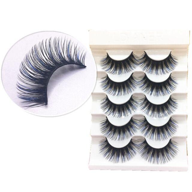 5Pair/set 100% Real Mink 3D Volume Corner Thick False Eyelashe Strip Lash Blue f