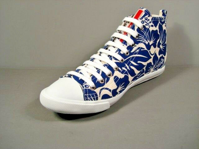 Prada Hibiscus Print bluee White Canvas Lace Up High Top Sneakers shoes 39.5 New