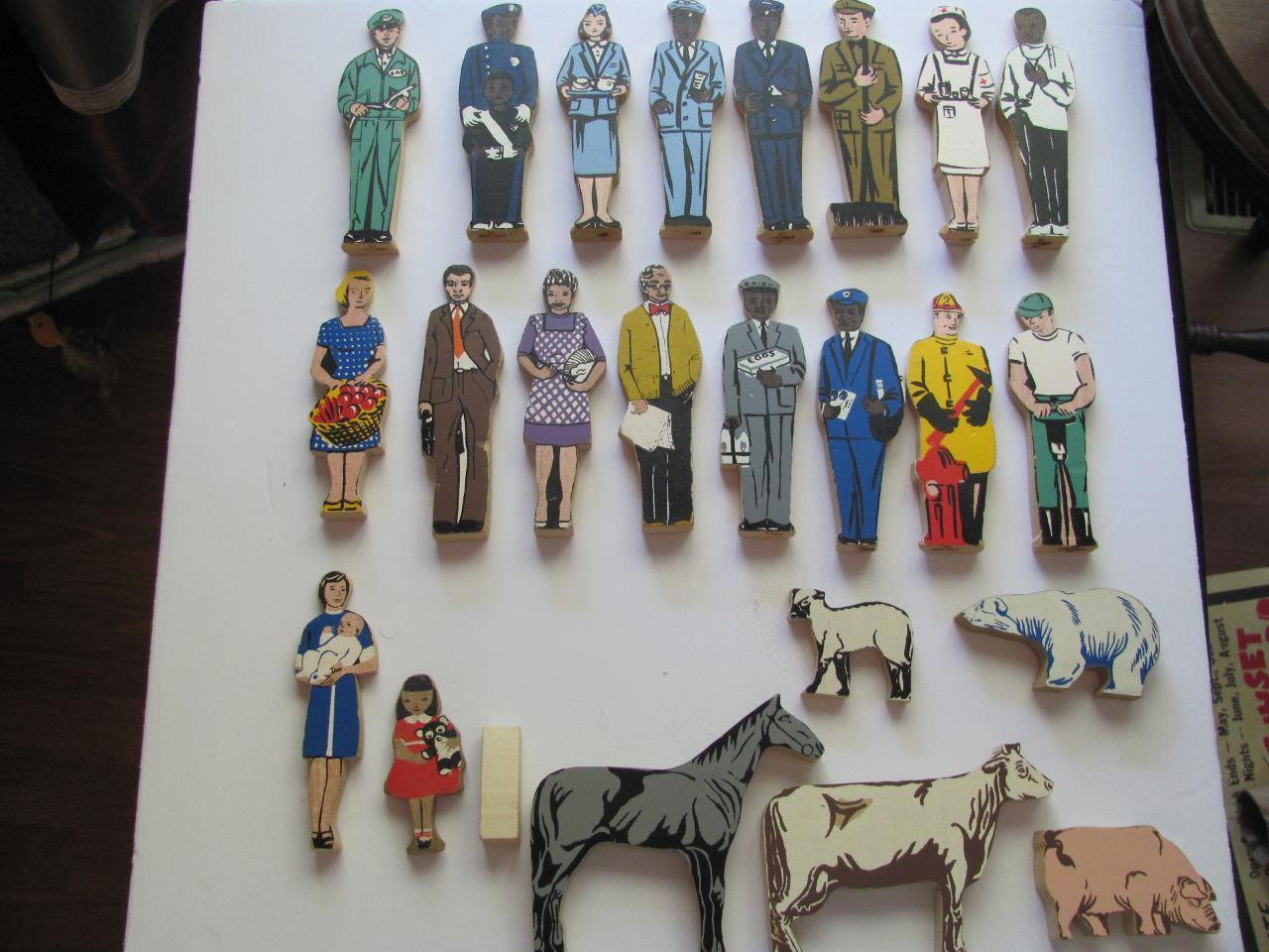 23 figuras vintage de Guidecraft Standable bloque de madera animales personas multicultural