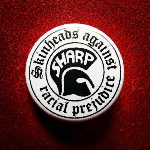 SKINHEADS AGAINST RACIAL PREJUDICE SHARP 25MM BADGE BUTTON PIN OI SKA MOD BLM