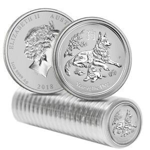 Roll of 20 - 2018 1 oz Silver Lunar Year of The Dog BU Australian Perth Mint In