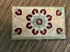 Brass Metal Business Card Holder With Crystals In Offwhite With Red Amp Blue Inlay