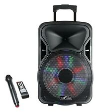 "BEFREE SOUND 15"" BLUETOOTH RECHARGEABLE DJ PA PARTY SPEAKER w/LIGHTS MIC USB AUX"