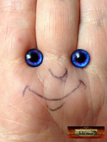 M01547x5 MOREZMORE 5 Pairs Glass Eyes Iris 8mm COBALT BLUE Flat Back Doll Puppet