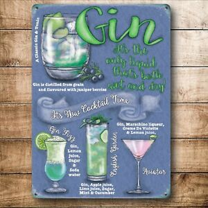 Vintage-Style-Metal-Wall-Sign-Kitchen-Picture-GIN-GIFT-Idea-For-House-Mum-Women