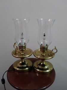 Beautiful Pair of  Brass Electric Chamber stick Lanterns with Etched Glass Globe
