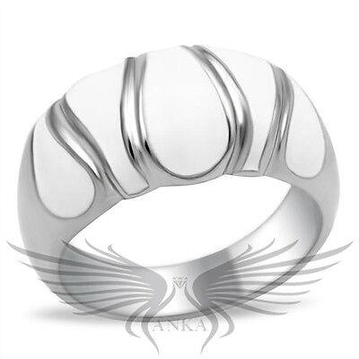Elegant Design White Epoxy Fashion Ring No Stone 5 6 7 8 9 10 TK230