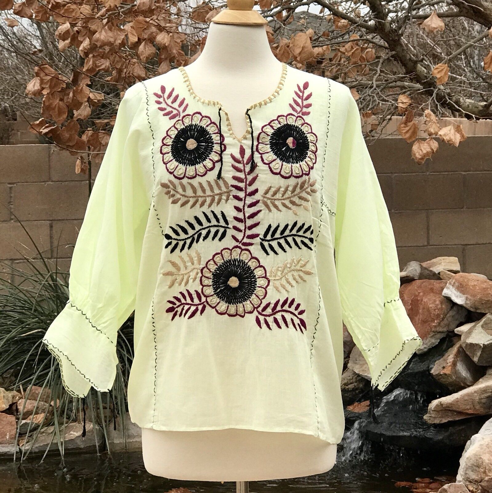 Size M Mexican blouse embroidered with floral design Handmade blouse
