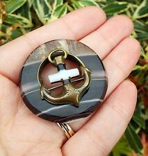 Antique Victorian Scottish Large Banded Agate with Pinchbeck Anchor Brooch Pin