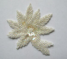 """3"""" White Floral Flower Beaded Sequin Applique-BS01W"""