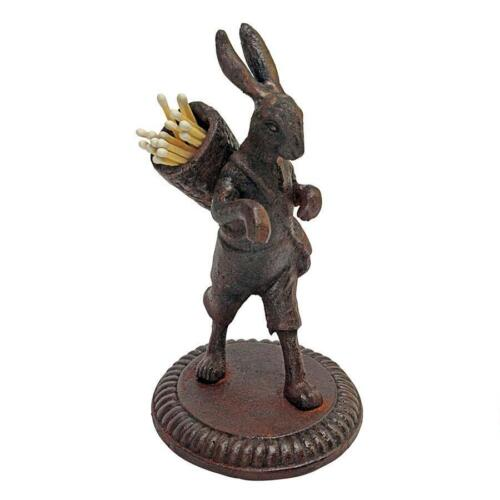 Bunny Rabbit Statue Home Statuary Figurines Easter Decor Matchstick Holder