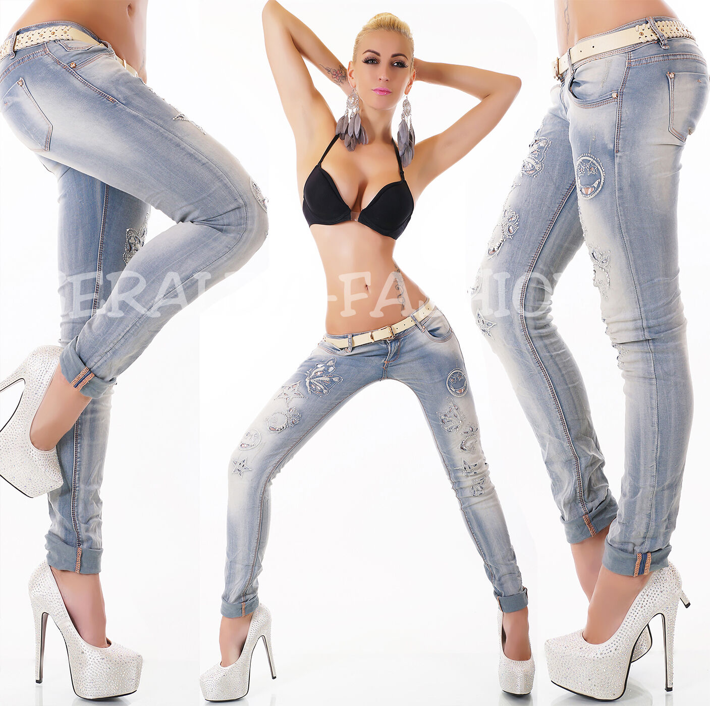 Sexy size basse JEANS tubes Cut Outs Motif Strass Broderie inclus. ceinture