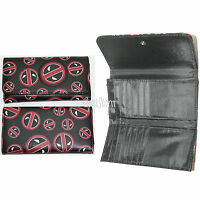 Marvel Deadpool Logo Design Tri-fold Flap Wallet Ladies Clutch Billfold Tote