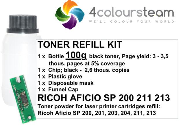 100g TONER REFILL RESET CHIP FOR RICOH AFICIO SP 200 SP200 201 203  204 211 213!