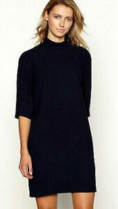 Debenhams-Womens-Navy-Blue-Button-Lined-Short-Tunic-Shift-Dress-3-4-Sleeve