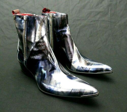 JEFFERY-WEST /'MUSE/' Nube Metallic Blue SYLVIAN /'Hansen/' Double Zip boot UK 8