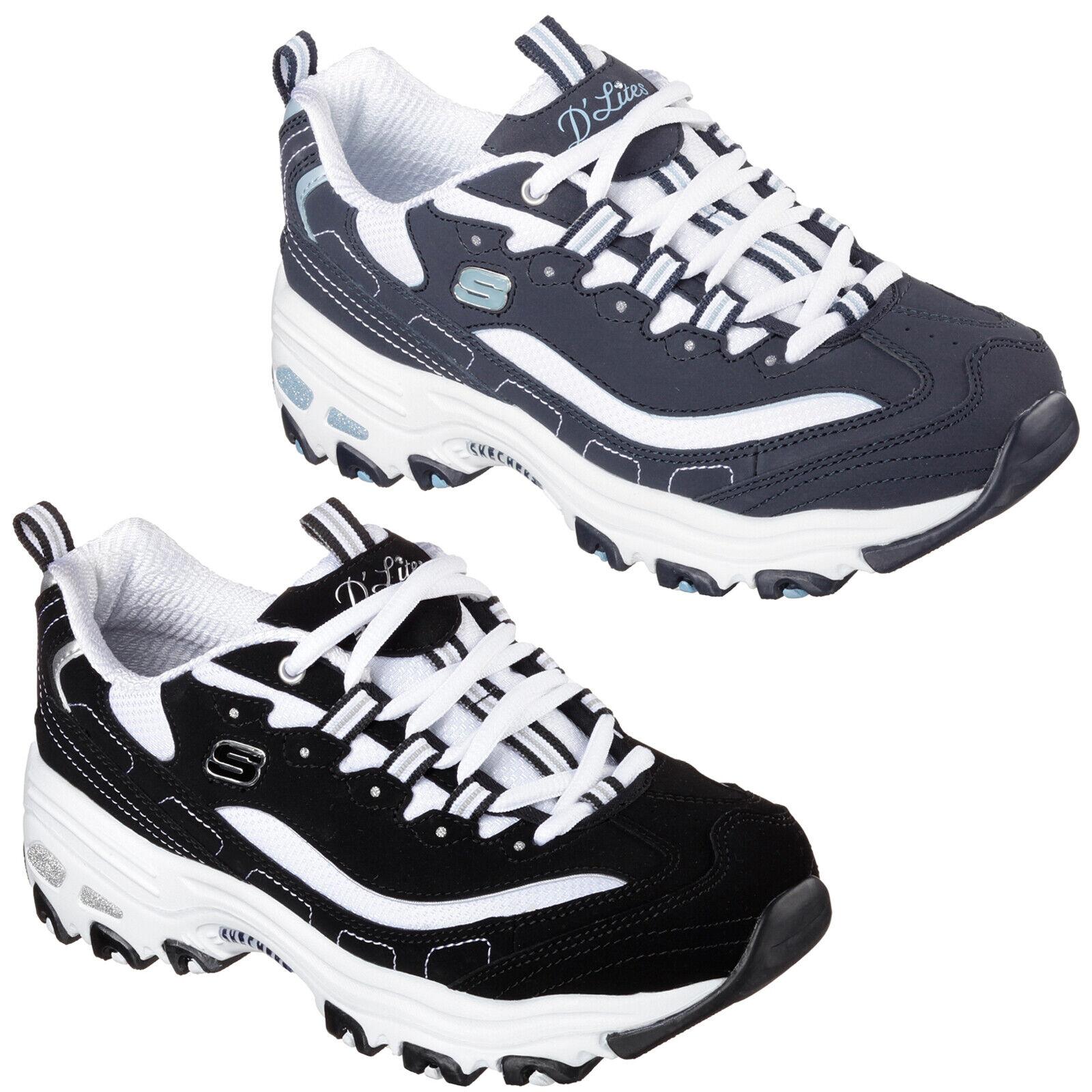 Skechers D'Lites - Biggest Fan Trainers Retro Chunky Fashion shoes Womens 11930