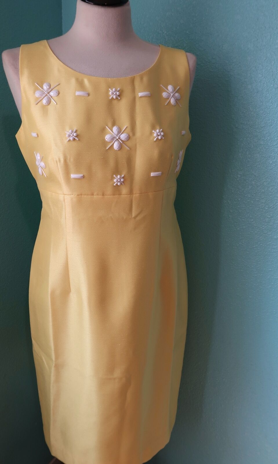 NEW Kasper Gelb Woherren  Shift Embellished Career Dress Größe 6
