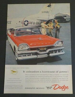 Advertising Original Print Ad 1956 '57 Dodge Swept-wing Royal Lancer 2-door Superior Performance Collectibles
