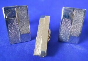 Vintage-Rectangle-Gold-tone-Men-039-s-Cufflinks-And-Tie-Back-Set