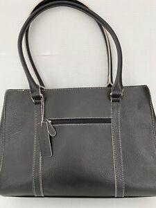 Tote Shoulder Lap Top Bag Purse WILSONS LEATHER Large Black Stand Up EXCELLENT