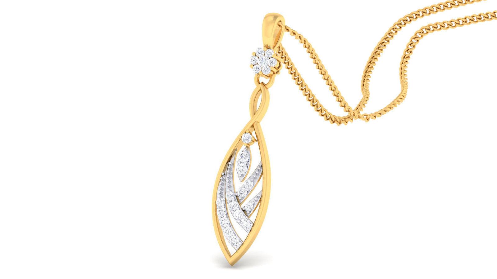 0.29 Cts Round Brilliant Cut Natural Diamonds Pendant In Solid Hallmark 14K gold