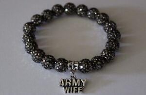 Patriotic-Army-Wife-Black-Charm-Crystal-Bead-Bracelet-Military-Wife