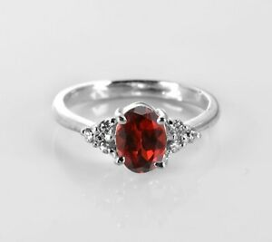 Garnet-925-Sterling-Silver-Ring-Natural-Solitaire-Oval-Gemstone-Size-4-11