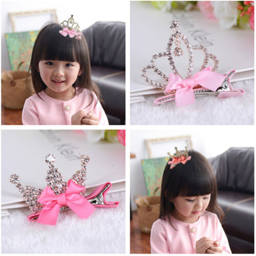 Baby Kid Girls Sweet Bowknot Princess Crown Hairpin Hair Clip Headband Accessory
