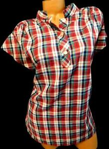 Women-039-s-plus-size-red-white-plaid-button-cleavage-short-sleeve-top-1X