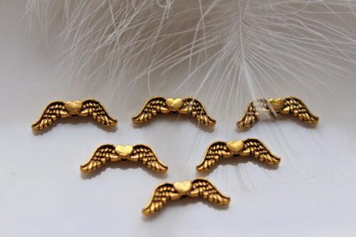 50-100 Engelsflügel Herz Metallperle Flügel Spacer antik gold 20 x 7 x 3mm